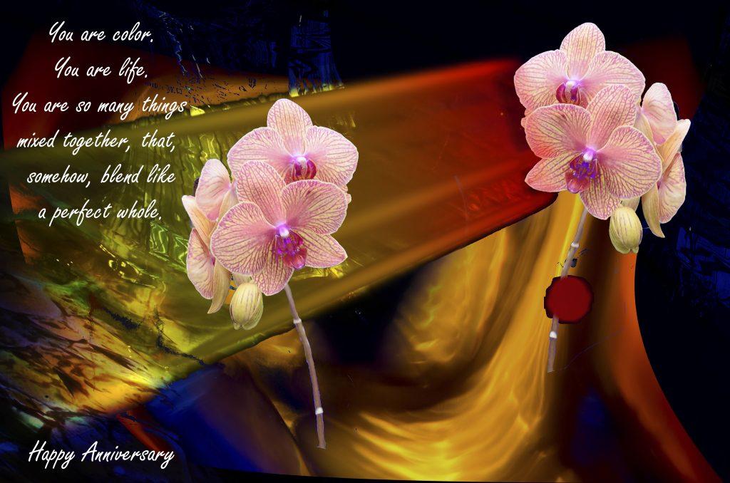 orchid anniversary ecard